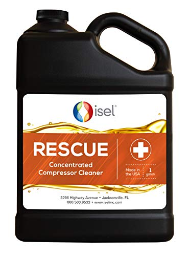 Concentrated Air Compressor Cleaner - ISEL RESCUE Oil Additive - Restore Efficiency and Performance - Effortless VARNISH and CARBON Removal in 3-Steps - Top Off Oil Sump + Run + Drain (1 Gallon)