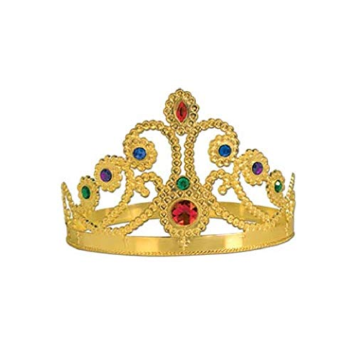 Bargain World Gold Plastic Jeweled Queen's Tiara (with Sticky Notes)