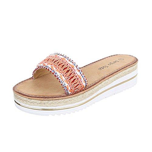 Ital-Design - zapatillas de baile (jazz y contemporáneo) Mujer naranja