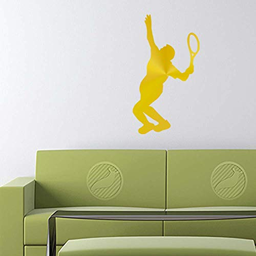 Tennis Player Decal Sticker (Gold, 20 inch Reversed) Removable Wall Vinyl b10058