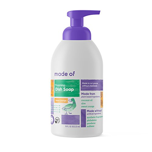 Foaming Organic Baby Dish Soap by MADE OF - Castile Dish Soap - For Baby Bottles - Dermatologist and Pediatrician Tested - NSF Organic and Vegan - Made in USA - 18oz (Sweet Orange, 1-Pack)