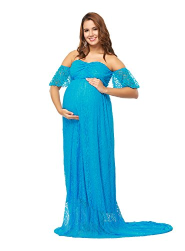 JustVH Women's Off Shoulder Ruffle Sleeve Lace Maternity Gown Maxi Photography Dress -