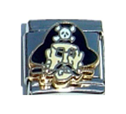 (Stylysh Charms Pirate Skull Crossbones Enamel Italian 9mm Link OC157)