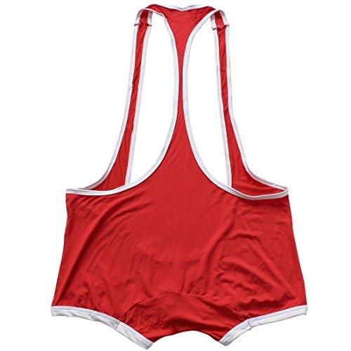 Freebily Men's Suspenders Boxer Wrestling Singlet Leotard Jockstrap Bodysuit Swimsuit Red Medium(Waist:31.0-47.0''/78-120cm) by Freebily