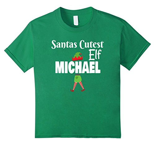 Kelly And Michael Costumes (Kids Santas Cutest Elf Personalized Name MICHAEL Christmas Shirt 6 Kelly Green)