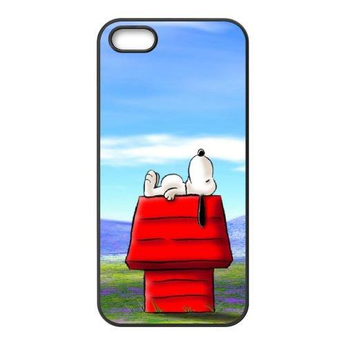 L0X25 Snoopy H3Z0KE coque iPhone 5 5s cellule de cas de téléphone couvercle coque noire KL8EFG3YI