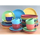 Bunt 6 Farben Dekor Kombi Service 30 teilig Neu Set 6 Personen Steinzeug Keramik Geschirr