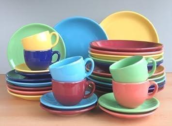 Steingut Keramik bunt 6 farben dekor kombi service 30 teilig neu set 6 personen
