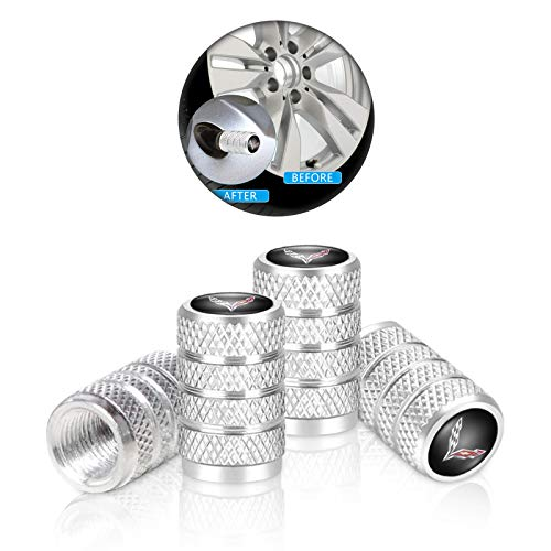 4 Pcs Metal Car Wheel Tire Valve Stem Caps for Corvette Stingray C1 C2 C3 C4 C5 C6 C7 C8 Racing 1LT 2LT 3LT Logo Styling Decoration Accessories