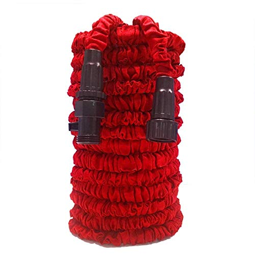 Garden Hose, Water Hose, Lightweight Expandable Garden Hose with 3/4″ Solid Fittings, Double Latex Core, Extra Strength Fabric, Flexible Expanding Hose for Outdoor Lawn Car Watering Plants Red (75 FT)