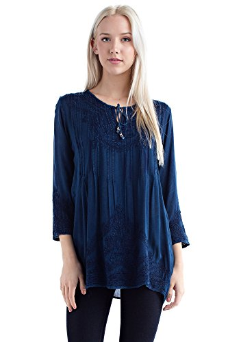 Solitaire Embroidered Blouse (Medium, Indigo) ()