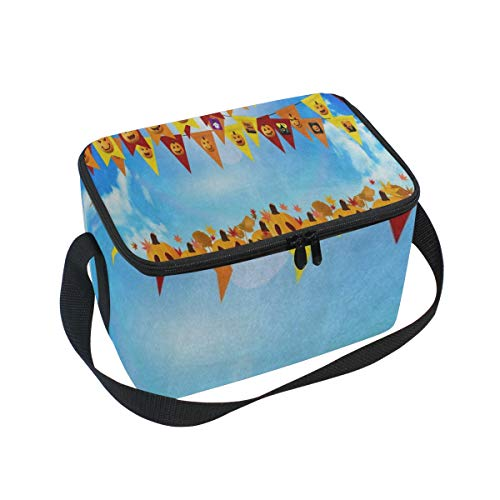 Lunch Tote Halloween Pumpkin Maple Leaves Blue Sky Mens Insulated Lunch Bag Zipper Kids Lunch Box
