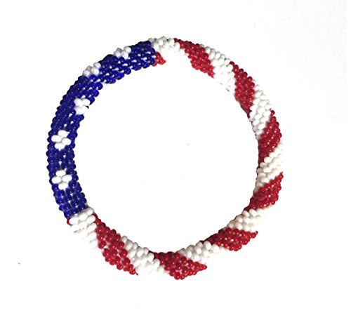 (Wigspedia Crochet Glass Seed Bead Nepal Boho Bracelet - USA Flag)