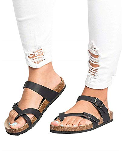 JOYCHEER Womens Cork Flat Sandals Gladiator Buckle Anckle Strap Thong Summer Slides (Sandals Slide Buckle Flat)
