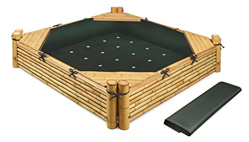 Badger Basket Bamboo Beach Sandbox with Liner & Cover Sandbox with Cover & Liner, Natural/Green ()