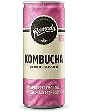 Remedy Raw Organic Kombucha Tea - Sparkling Live Cultured Drink - Sugar Free Raspberry Lemonade - 330ml Can, 12-Pack