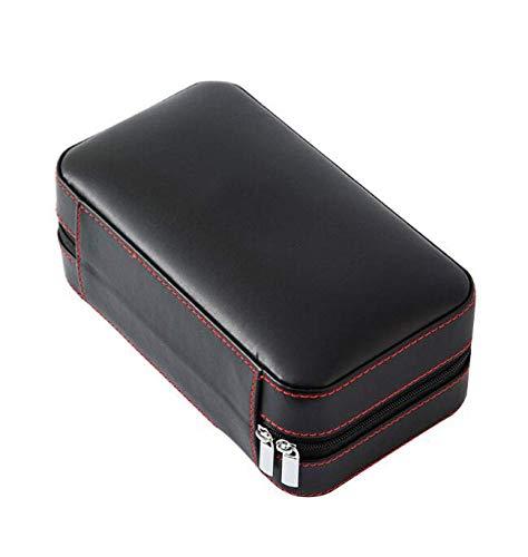 Wdszb Cigar Humidor Case, Cedar Wood Portable Travel Leather Humidor Box with Humidifier, Removable Cedar Tray (Black)