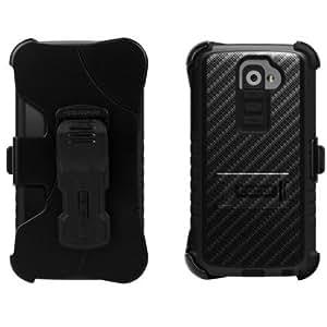 Cerhinu Beyond Cell Tri-Shield Kombo Case & Holster Belt Clip Combo for LG G2 D801/VS980 (At&t, Verizon) - Design Carbon...