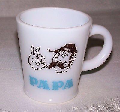 Vintage Milk Glass Papa Mug Atlas