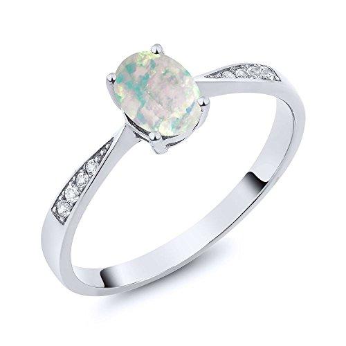 Opal Diamond Gold Anniversary Ring - 3