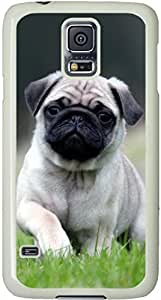 Cute Pug Running On Grass Galaxy S5 Case, Galaxy S5 Cases - Compatible With Samsung Galaxy S5 SV i9600 - Samsung Galaxy S5 Case Durable Protective Case for White Cover