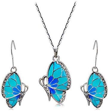 QLSchmuck Circonio Colgante aretes Colgante Collar Mariposa Moda Plateado imitación Diamante joyería Azul Apto para Fiestas Oficiales