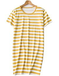 Amoy madrola Women's Comfortable Cotton Stripes Nightgown Casual Nights SY217