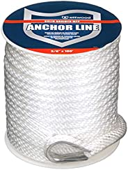 attwood 11724-1 Solid Braid Multifilament Polypropylene Anchor Line with Thimble 3/8-Inch x 100-Feet, White