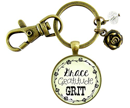 Grace Gratitude Grit Keychain Southern Girl Rustic Country Inspired Pendant Rose Charm Jewelry For Women