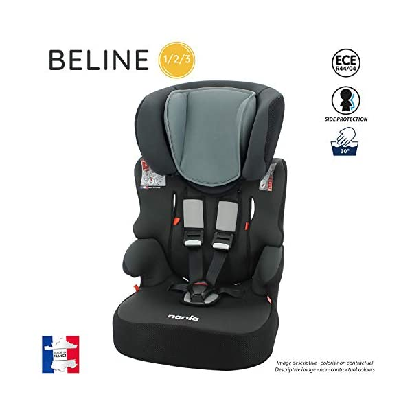 Seggiolino auto Beline gruppo 1/2/3 (9-36 kg), con protezione laterale, prodotto in Francia (grigio) 2