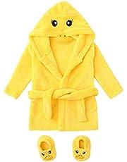 Toddler Kids Newborn Baby Girls Boys Soft Flannel Night-Gown Pajamas Cartoon Duck Bath Cloak Hydrophil Bathrobe