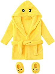 KASSD Infant Boys Girls Cartoon Duck Print Flannel Bathrobes, Hoodie Sleepwear+Footwear Outfits, 0-12 Months (