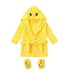 Bitriddis Baby Bathrobes Cute Kids Infant Boys Girls Frog//Duck Cartoon Flannel Bathrobes Hoodie Sleepwear+Footwear Outfits 0-12M