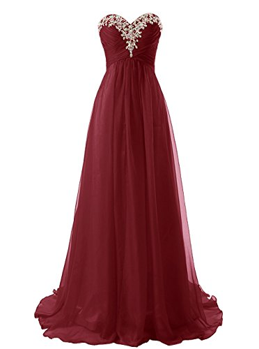 Snowskite Sweetheart Long Beaded Chiffon Bridesmaid Dress Evening Dress Burgundy 18 by Snowskite