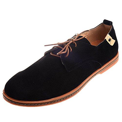 TOOGOO(R)NEU Veloursleder Europaeische Stil Leder Schuhe Herren Oxfords laessig schwarz 9