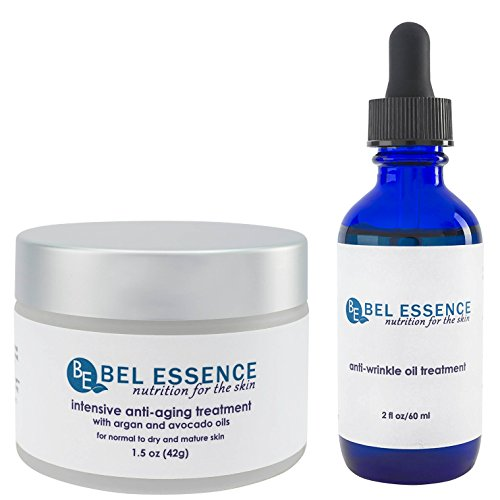 Bel Essence Intensive Organic Anti-Wrinkle, Anti-Aging, Anti-Oxidant Facial Lift Skin Care Cream and Oil Treatment Serum Formula Combination Value (Intensive Anti Wrinkle Cream)
