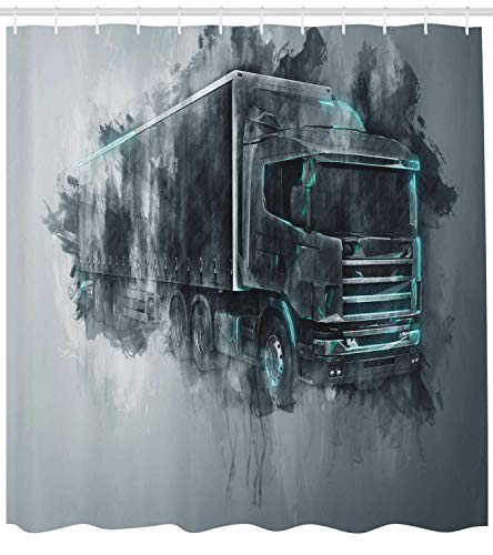 fengruiyanjing Truck Shower Curtain, Greyscale Illustration of a Tractor Trailer with Paint Smears Cargo Delivery, Cloth Fabric Bathroom Decor Set with Hooks, 84 inches Extra Long, Grey Turquoise