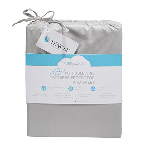 NEW from PUREgrace Playard Mattress SHEET and PROTECTOR in one - made with All Natural Hypoallergenic TENCEL, Waterproof Cover Protects and Fits Pack N Play or Mini Portable Crib Mattresses by PUREgrace