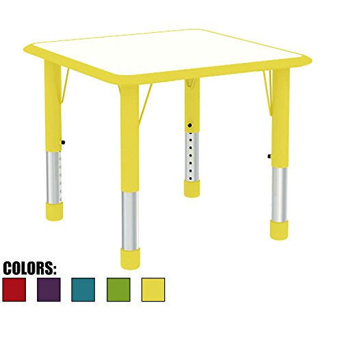 2xhome Adjustable Height Kids Table Square for Toddler Child Children School Preschool 2 4 6 Years Old Kitchen Bedroom Dining Room Activity Home Commercial with Metal Chrome Safety Corner Yellow