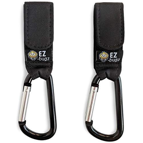 Baby Uma Stroller Hooks Clips to Hang Your Shopping & Bags Safely on Your Buggy, Pushchair or Pram. Black, 2 Pack