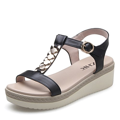 Korean Version Of Wedge Sandals In The Summer,With Female Thick-soled Shoes,Platform Sandals,Flat Casual Shoes B