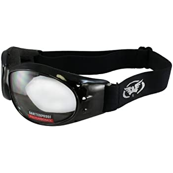 Eliminator Black Frame Motorcycle Goggles with Clear Mirror Anti Fog