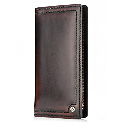 Contacts Genuine Leather Mens Zipper Around Long Wallet Coin Clutch Purse Red-Brown