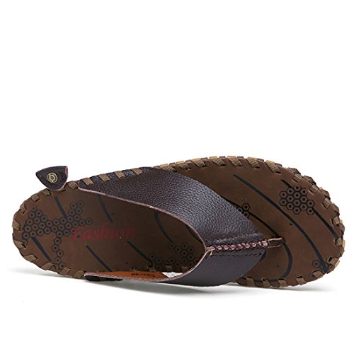 Brown Casual Flip Strap Slippers Flops Boys Leather Men's Summer Beach TDA 81BIvB