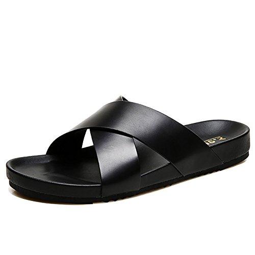 aire Tamaño de tamaño suave de Zapatillas verano de de hombre al Diseño 38 genuino cuero de 45 antideslizante abierta punta cómodo libre con 40 playa Sandalias pqwxFH