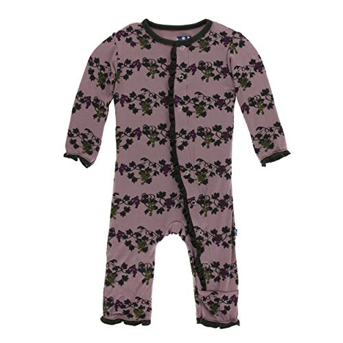 Kickee Pants Little Girls Print Layette Classic Ruffle Coverall with Snaps - Raisin Grape Vines, 6-9 Months