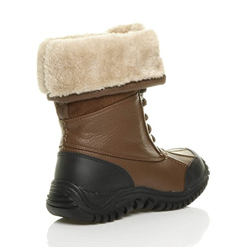 calf sole up winter heel boots Chestnut size snow ladies low fur lace Womens rubber Brown Ajvani winter flat BOqfXW