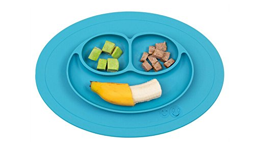Smiley Happy Placemat, One Piece Silicone Suction Placemat and Plate - for Kids, Toddlers and Babies (Blue)