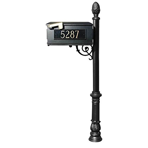 - Lewiston Mailbox with Ornate Base and Pineapple Finial - Black