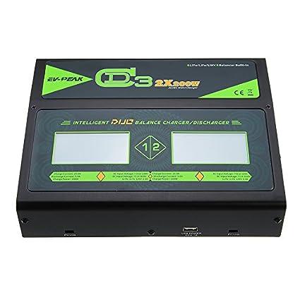 LWYANG EV-Peak CD3 2X200W 25A Dual AC/DC 1-6S Lipo Cargador ...